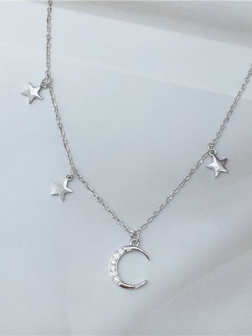 KEVIN 925 Sterling Silver Cubic Zirconia Star Dainty Initials Necklace