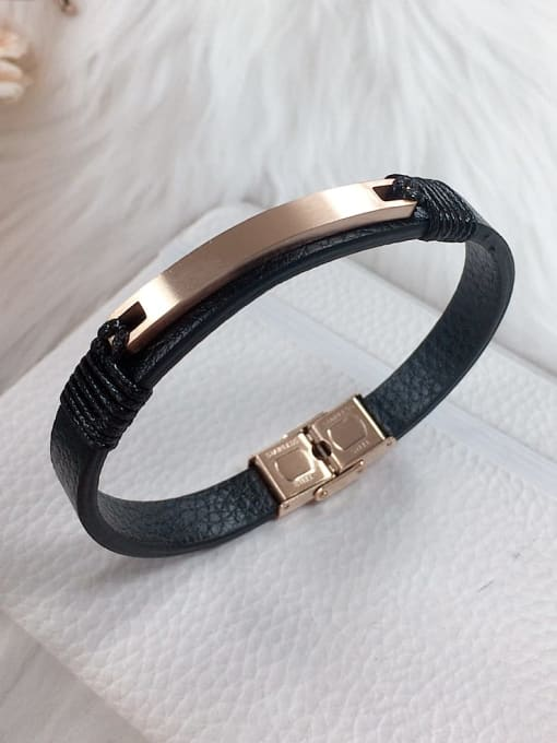 HE-IN Stainless steel Leather Rectangle Trend Bracelet 1