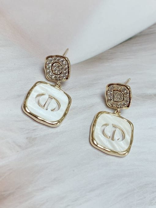 KEVIN Brass Cubic Zirconia Acrylic Square Trend Drop Earring