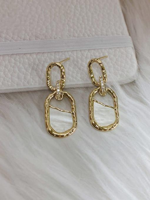 KEVIN Brass Cubic Zirconia Acrylic Irregular Trend Drop Earring