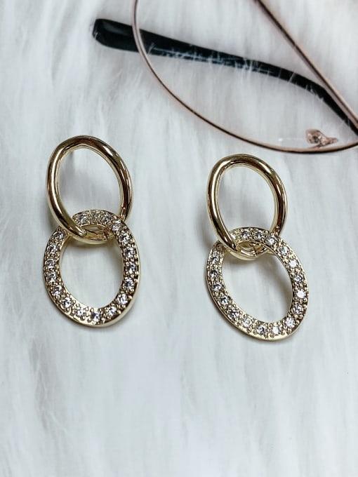 KEVIN Zinc Alloy Cubic Zirconia Oval Trend Drop Earring
