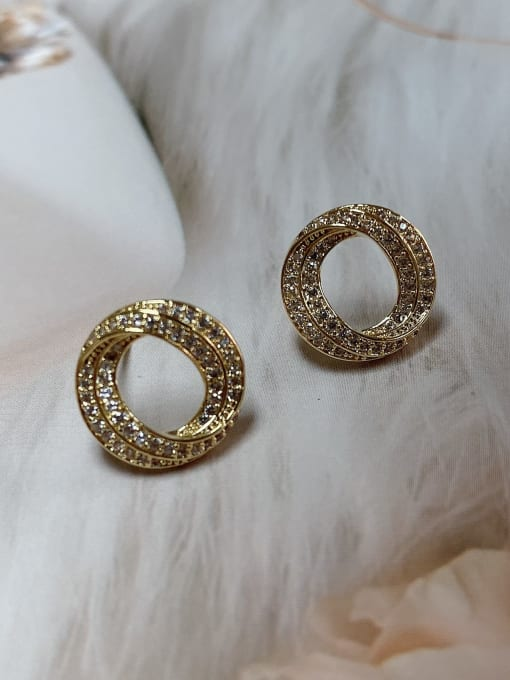 KEVIN Brass Cubic Zirconia Round Trend Stud Earring