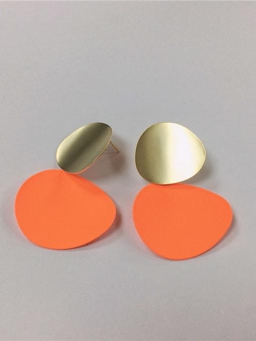 orange Brass Enamel Irregular Trend Drop Earring