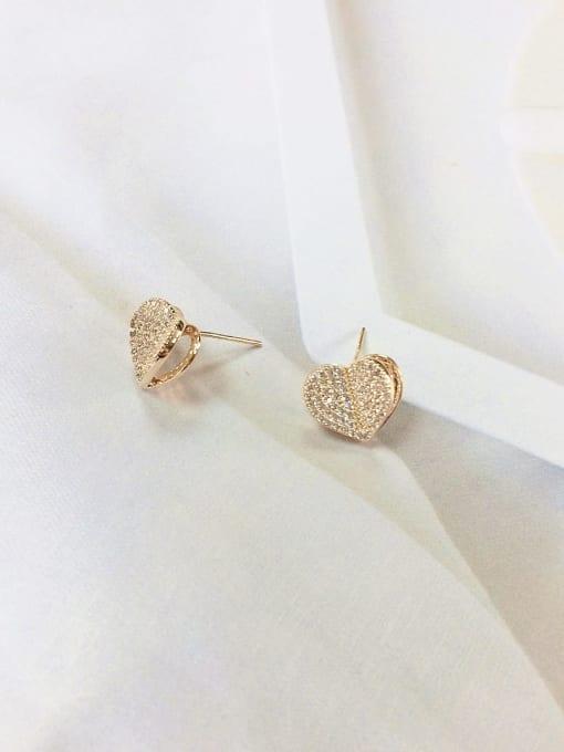 KEVIN Brass Cubic Zirconia Heart Minimalist Stud Earring