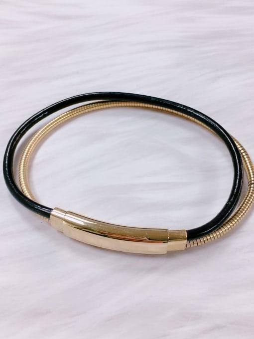 Gold Stainless steel Leather Irregular Minimalist Bracelet