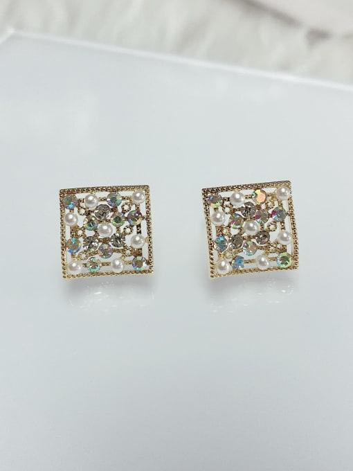 KEVIN Brass Rhinestone Square Dainty Stud Earring 1