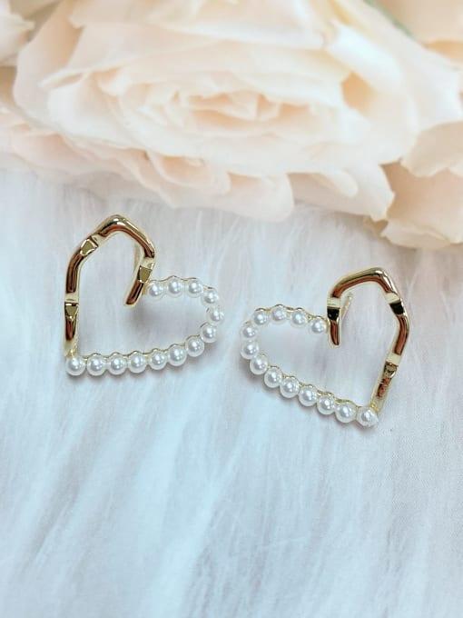 KEVIN Brass Imitation Pearl Heart Trend Stud Earring 1