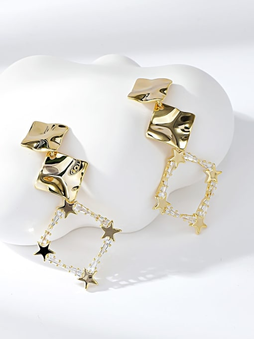 KEVIN Brass Cubic Zirconia Square Trend Drop Earring 0