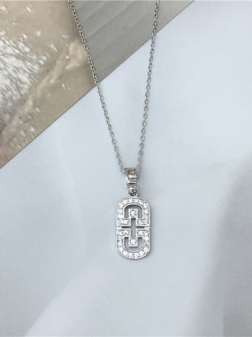 KEVIN 925 Sterling Silver Cubic Zirconia Geometric Dainty Initials Necklace 0