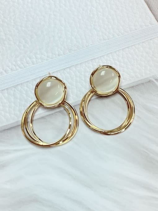 KEVIN Brass Cats Eye Round Classic Drop Earring