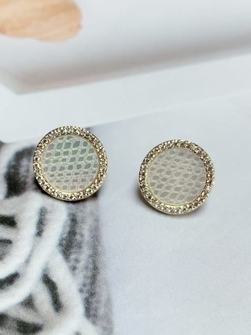 KEVIN Brass Cubic Zirconia Round Minimalist Stud Earring