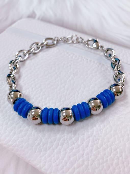 Blue Stainless steel Silicone Irregular Trend Link Bracelet