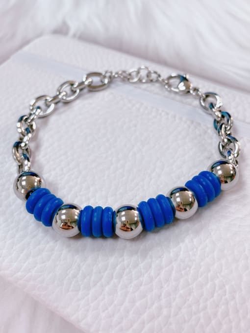 HE-IN Stainless steel Silicone Irregular Trend Link Bracelet 0