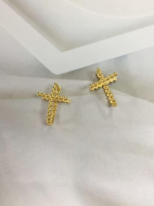 KEVIN Brass Cross Minimalist Huggie Earring