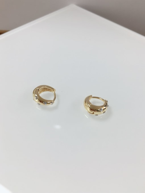 KEVIN Brass Rhinestone Irregular Dainty Huggie Earring