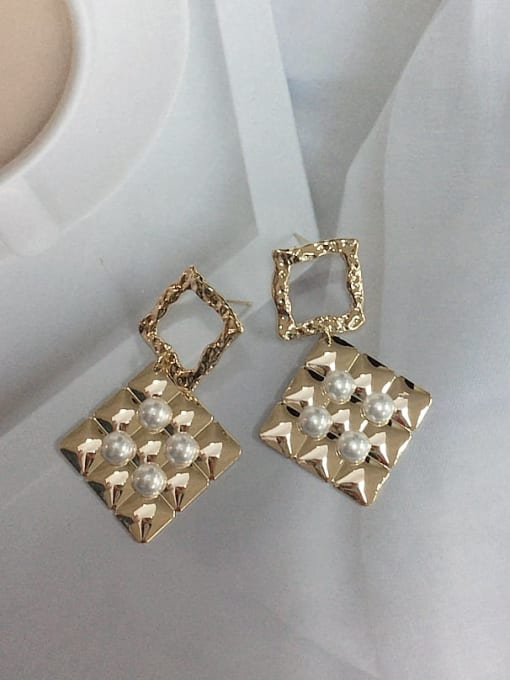 KEVIN Zinc Alloy Imitation Pearl Square Trend Drop Earring 1