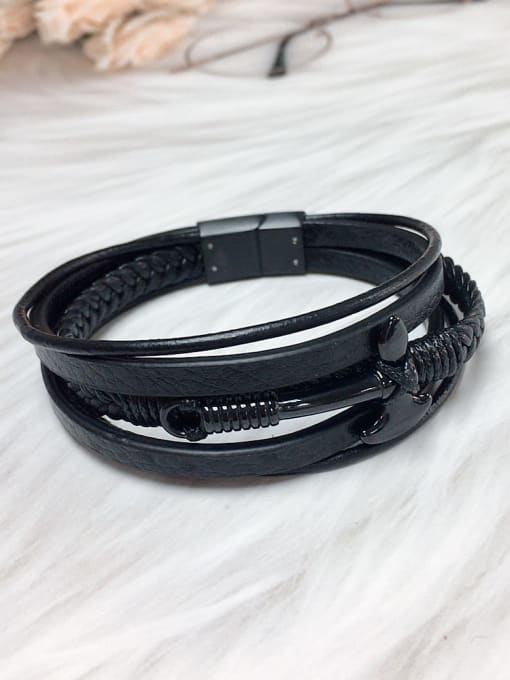 Black Stainless steel Leather Religious Trend Bracelet