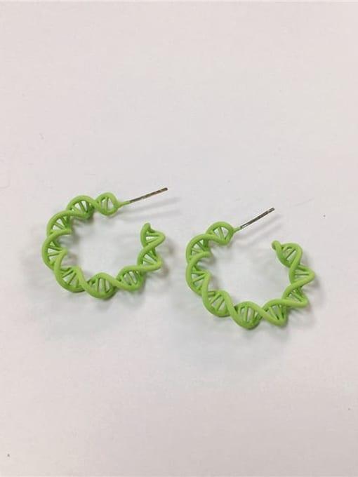 Green Brass Enamel Cone Classic Hoop Earring