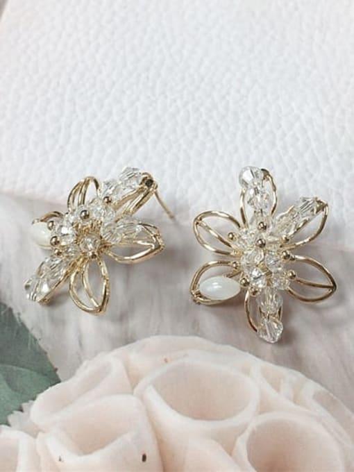KEVIN Zinc Alloy Crystal Flower Trend Stud Earring 1