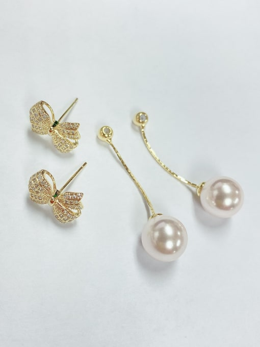 KEVIN Brass Imitation Pearl Bowknot Trend Drop Earring 1