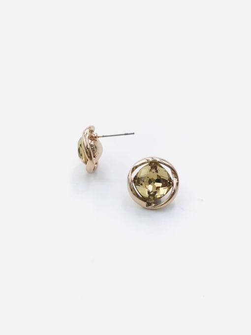 ROSE GOLD+cHAMPAGNE Zinc Alloy Glass Stone Champagne Irregular Minimalist Stud Earring
