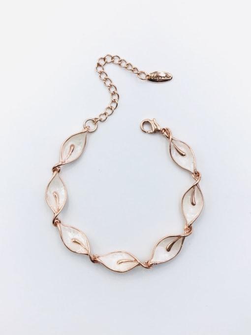 VIENNOIS Zinc Alloy Shell White Leaf Dainty Bracelet