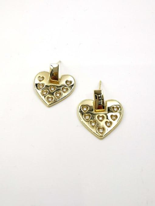 Gold Brass Cubic Zirconia Clear Heart Trend Stud Earring