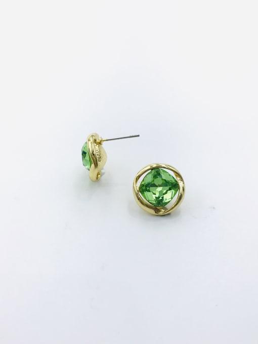 GOLD+ GREEN Zinc Alloy Glass Stone Champagne Irregular Minimalist Stud Earring