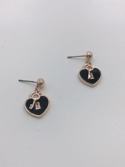 Rose Brass Acrylic Locket Dainty Drop Earring