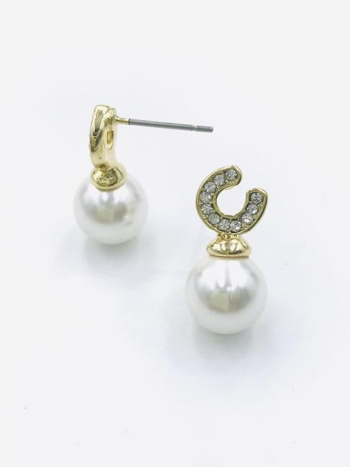 VIENNOIS Zinc Alloy Imitation Pearl White Ball Dainty Stud Earring 0