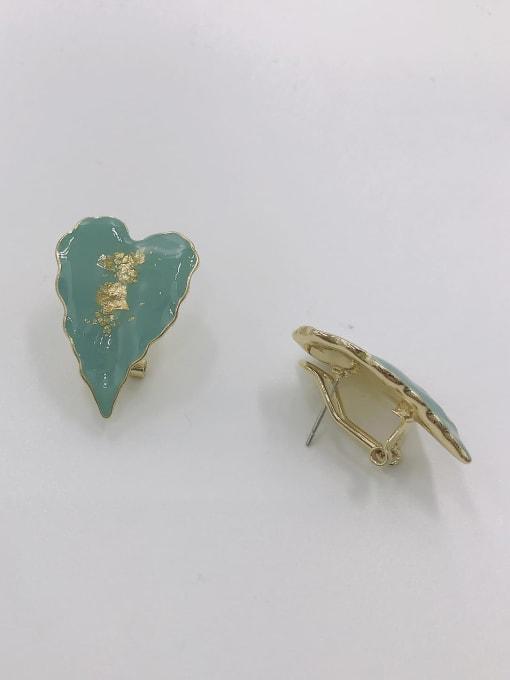 GOLD+BLUE Zinc Alloy Enamel Leaf Trend Clip Earring