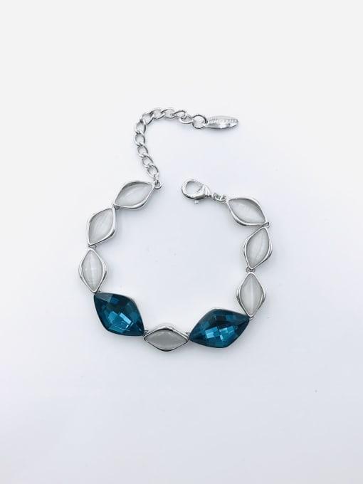 Blue Zinc Alloy Glass Stone Blue Geometric Trend Bracelet