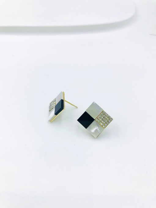 Gold Zinc Alloy Shell White Acrylic Square Dainty Stud Earring