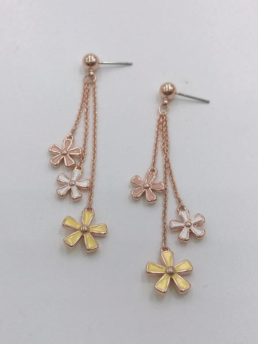 ROSE GOLD+PINK+WHITE+YELLOW Zinc Alloy Enamel Flower Trend Drop Earring