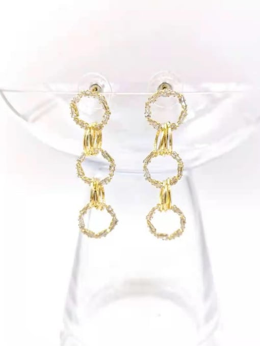 VIENNOIS Brass Cubic Zirconia Clear Round Trend Drop Earring