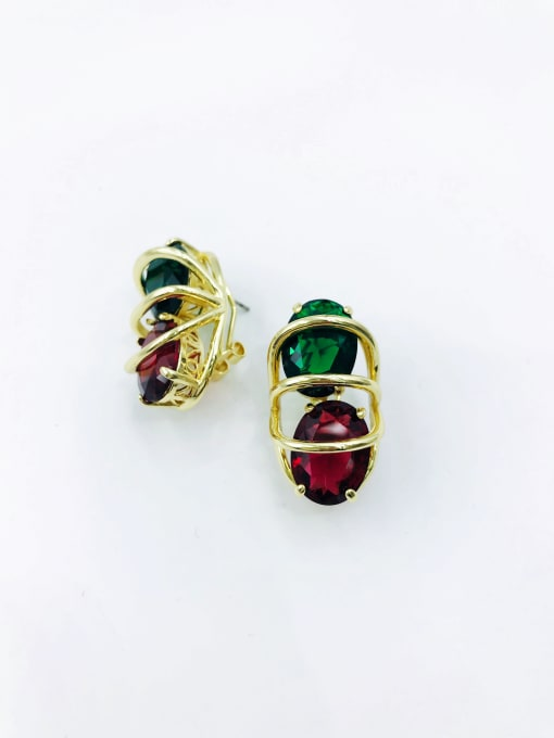 gold+green&red glass Brass Glass Stone Multi Color Oval Luxury Clip Earring