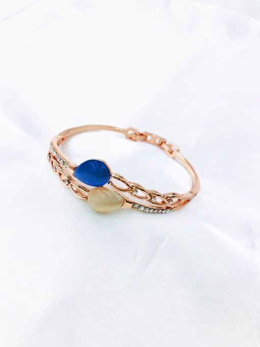 VIENNOIS Zinc Alloy Cats Eye Multi Color Water Drop Dainty Band Bangle