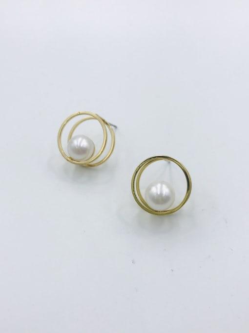 VIENNOIS Zinc Alloy Imitation Pearl White Round Minimalist Stud Earring 0