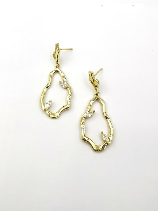 VIENNOIS Brass Cubic Zirconia Clear Irregular Trend Drop Earring 0