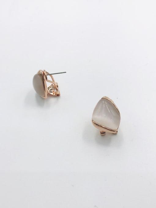 VIENNOIS Zinc Alloy Cats Eye White Irregular Minimalist Clip Earring