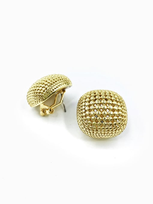 Gold Brass Square Minimalist Clip Earring