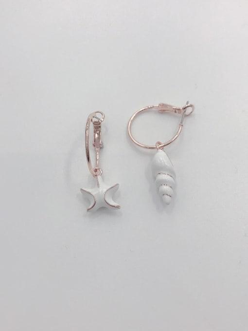 ROSE GOLD+WHITE Zinc Alloy Enamel Star Cute Huggie Earring