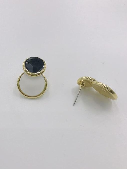 gOLD+BLACK+WHITE Zinc Alloy Enamel Round Minimalist Stud Earring