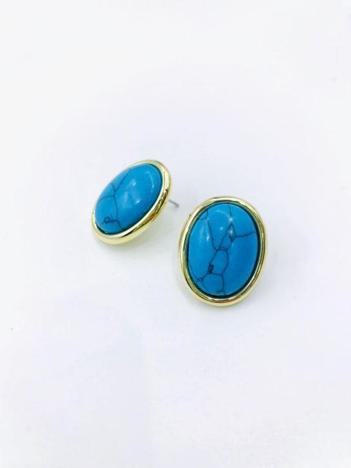 gold+blue stone Zinc Alloy Oval Classic Stud Earring