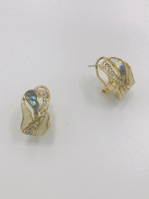Gold Zinc Alloy Shell Multi Color Irregular Trend Clip Earring