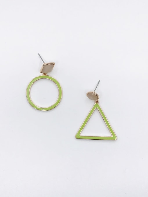 ROSE GOLD+GREEN Zinc Alloy Cats Eye White Enamel Triangle Minimalist Drop Earring
