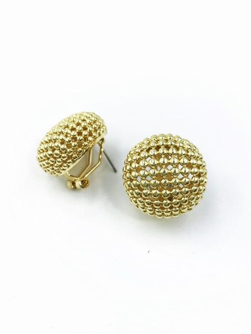 Gold Brass Round Minimalist Clip Earring