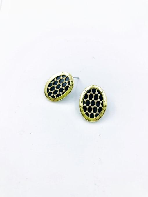 Gold Brass Imitation Pearl White Acrylic Oval Dainty Stud Earring