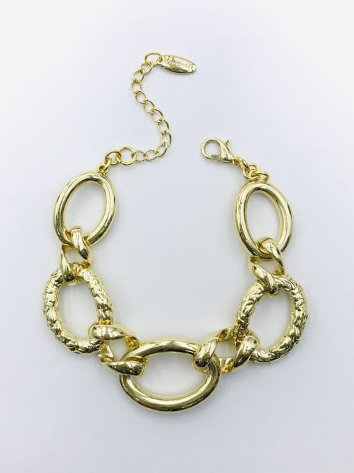 Gold Zinc Alloy Oval Statement Bracelet