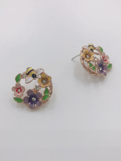 ROSE GOLD+PURPLE+PINK+YELLOW+GREEN Zinc Alloy Rhinestone White Enamel Leaf Dainty Stud Earring